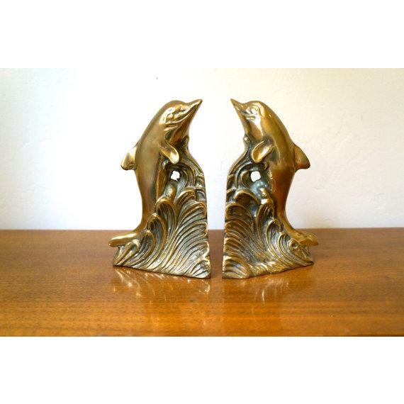 Image of Brass Dolphin Bookends - A Pair