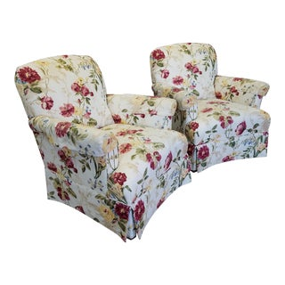 Ethan Allen Floral Upholstered Armchairs #20-7555- a Pair