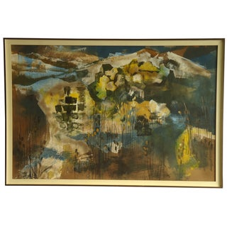 Mid-Century Abstract Mountain Landscape Painting