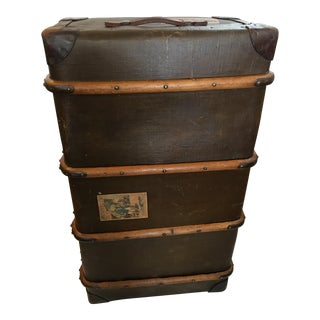 Vintage Canvas Wood & Leather English Trunk