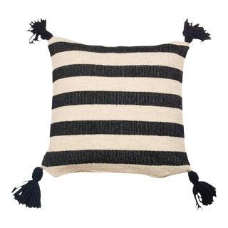 Mexican Black & White Wool Throw Pillow