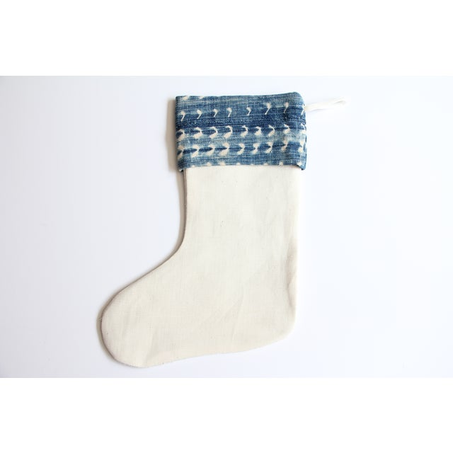 Vintage Indigo and Mudcloth Christmas Stocking - Image 3 of 5