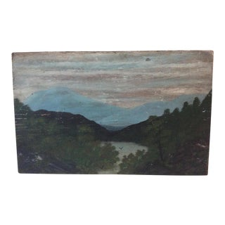 Primitive Lake Scene Painting on Wood Board