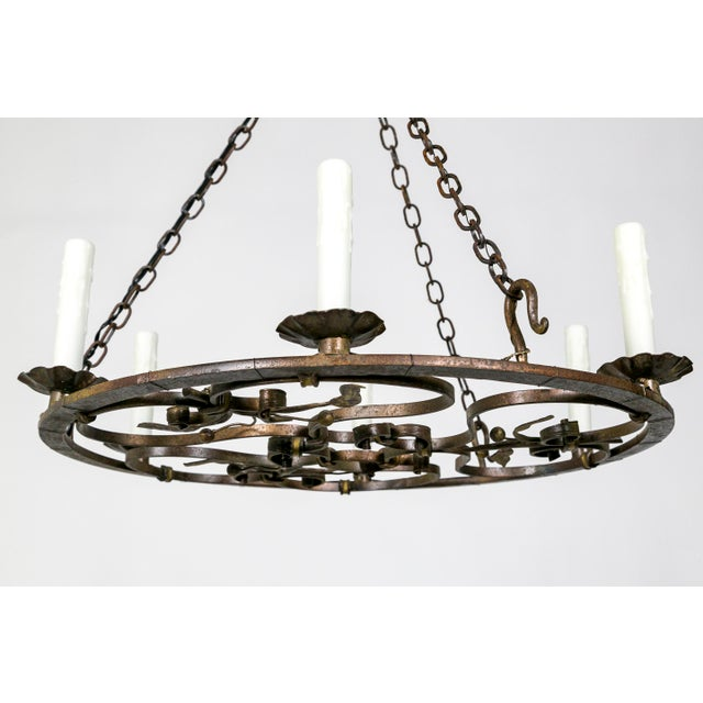 Hand Wrought Flat Leaf and Scroll Chandelier - Image 7 of 8