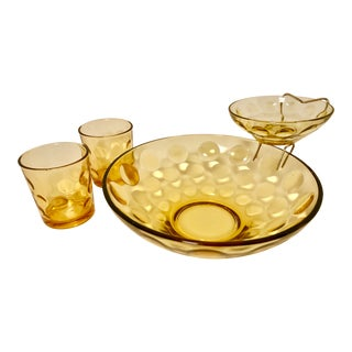Vintage Orange Glass Appetizer Set - Set of 4