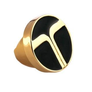 Trina Turk Oversize Black Enamel Gold Ring Size 7