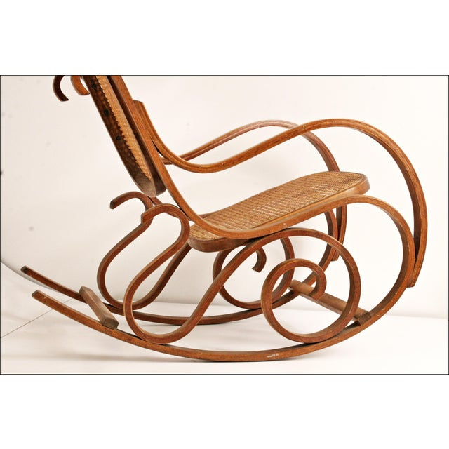 Vintage Thonet-Style Bentwood Cane Rocking Chair - Image 10 of 11