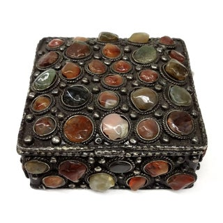 Antique Silver Carved Box With Genuine Stones