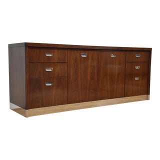 Baker Walnut and Chrome Credenza