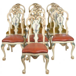 Italian Painted Dining Chairs - Set of 10