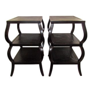 Pair of Shaped Three Tier Wood End / Side Tables