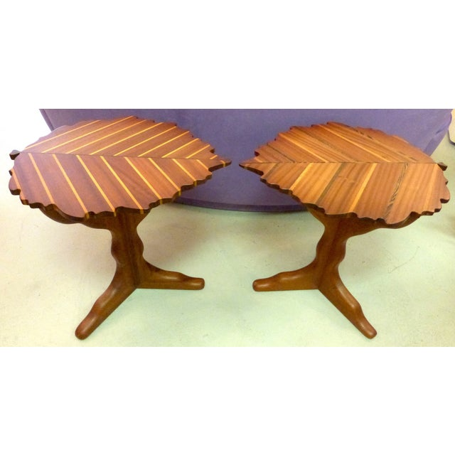Handmade Wooden Leaf Shaped Side Tables - A Pair - Image 2 of 8