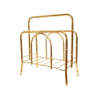 Hollywood Regency Faux Bamboo Brass Magazine Rack