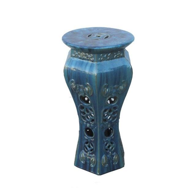 Image of Green Blue Green Clay Round Pedestal Garden Stand