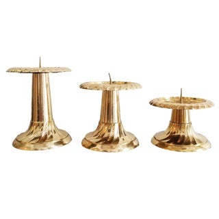Vintage Indian Brass Candle Holders - Set of 3