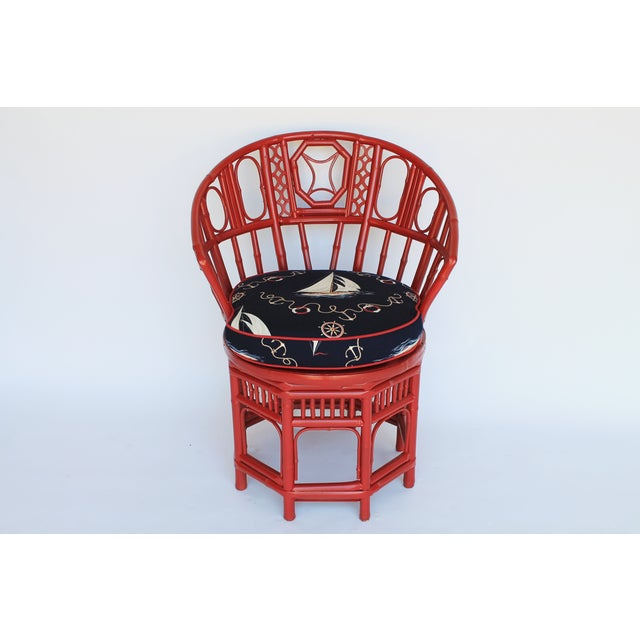 Bamboo Accent Chair W/ Nautical Theme - Image 4 of 9