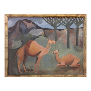 Vintage Oil Camel Painting Signed Sam