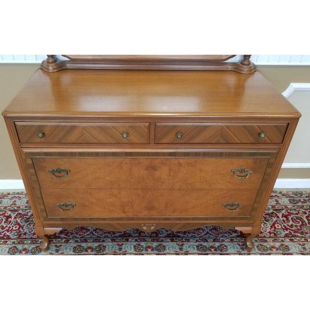 Le Grand 6 Drawer Dresser In Antique White: 1930s Post Art-Deco Walnut Bedroom 4 Drawer Dresser With