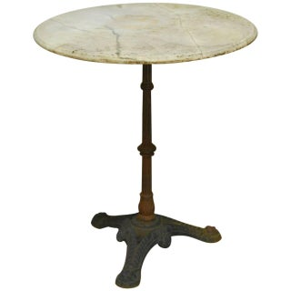 French Parisian Marble-Top Bistro Table
