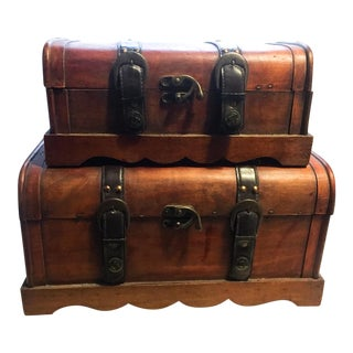 Vintage Wood Treasure Chests - A Pair