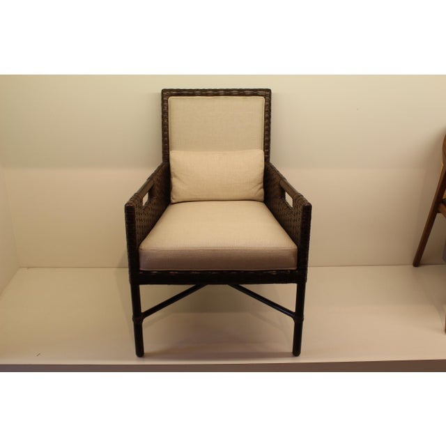 McGuire Thomas Pheasant Woven Leather Dining Arm Chair - Image 2 of 7