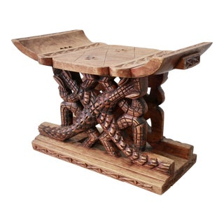 Asante Alligator Motif Carved Wood Stool From Ghana