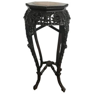 Finely Carved Asian Rosewood & Marble Top Planter