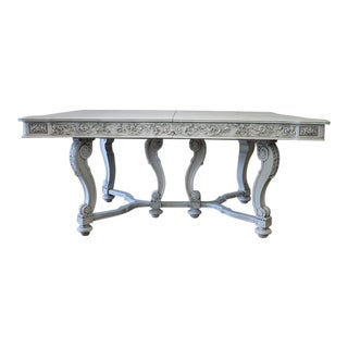 Early 20th Century Solid Carved and Painted Walnut Dining Table With Leaves