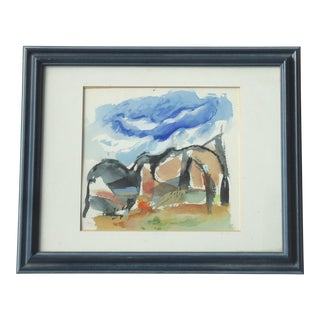 Framed Landscape With Horses Watercolor