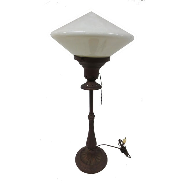 Image of Art Deco Table Lamp With Milk Glass Shade