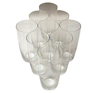 Etched Crystal Water Glasses From Sweden -Set of 9