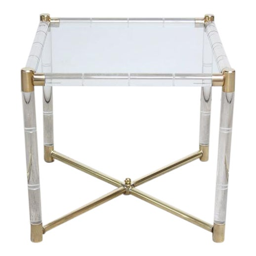 Charles Hollis Jones Lucite Faux-Bamboo and Brass Side Table - Image 1 of 10