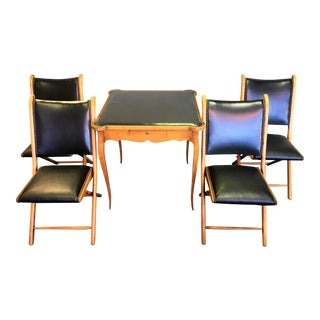 French Deco Black Leather & Wood Table and Chairs - Set of 4