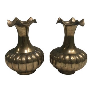 Fluted Brass Vases - A Pair
