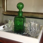Image of Vintage Emerald Green Glass Decanter