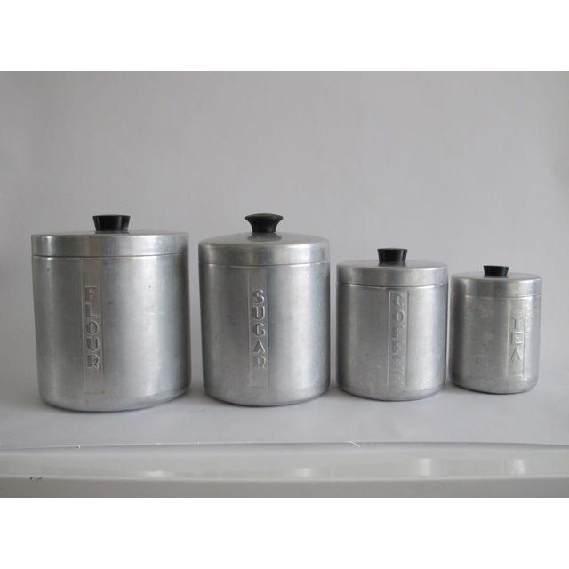 Mid-Century Aluminum Kitchen Canisters - Set of 4 - Image 4 of 4