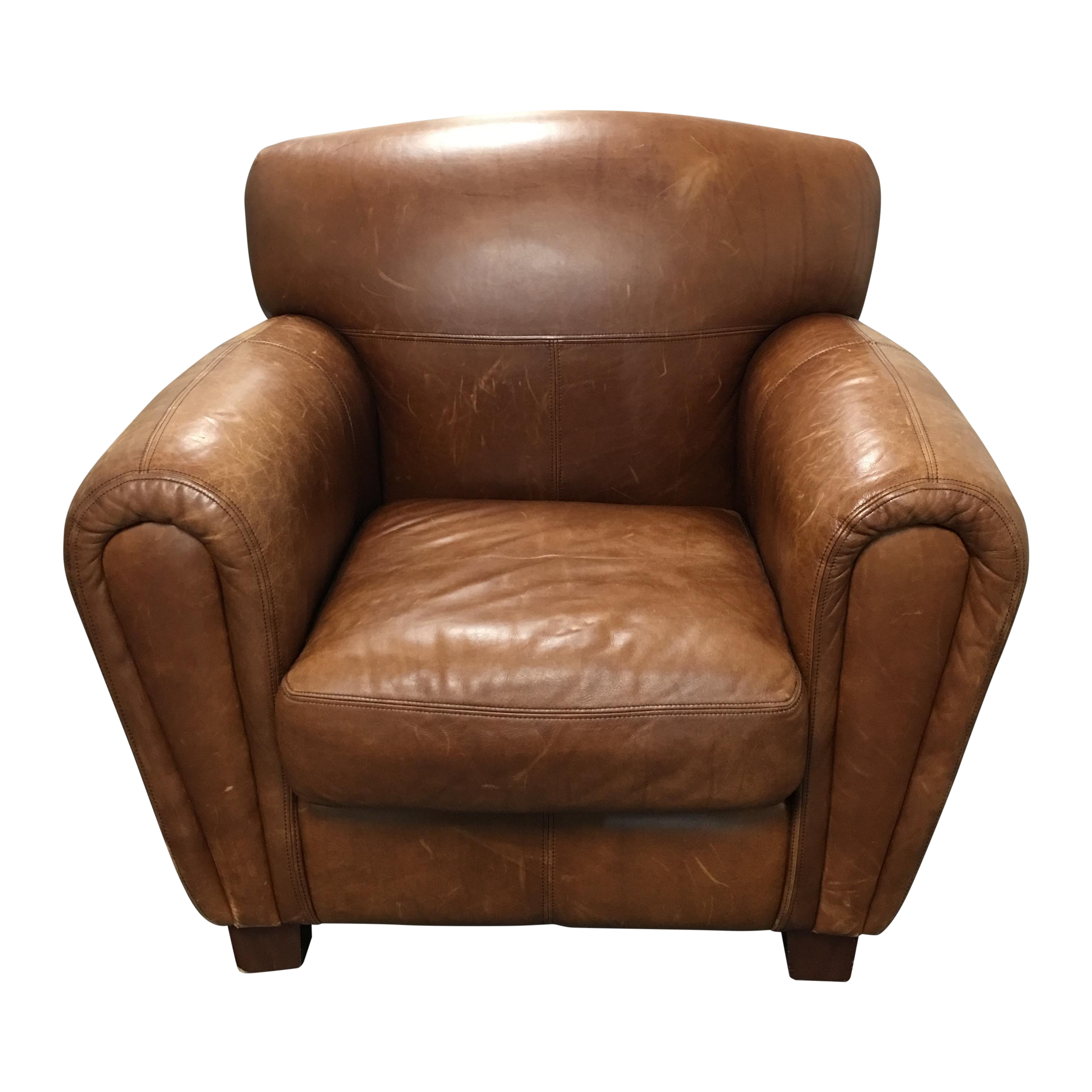 Thomasville Cognac Leather Club Chair