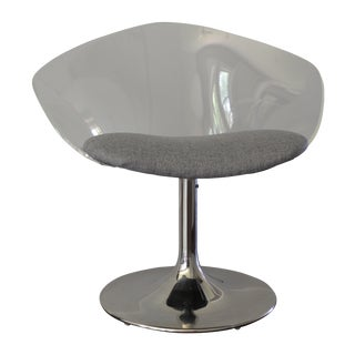 Lucite Swivel Chair with Chrome Tulip Base