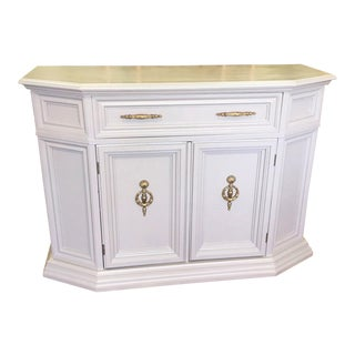 French Country Style Gray With Brass Accents Console Cabinet