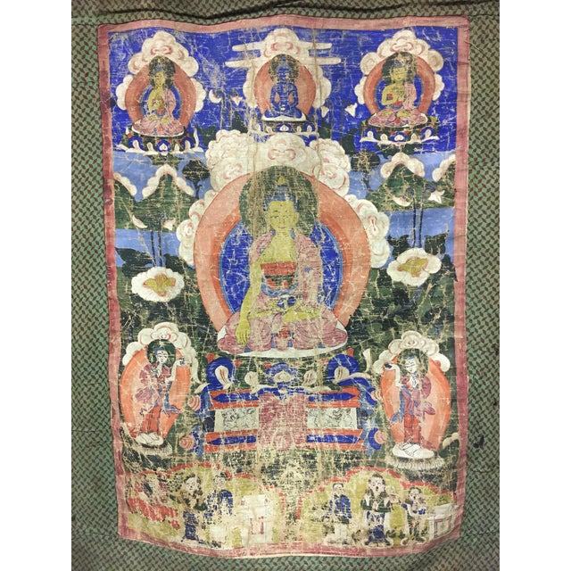 Tibetan Thanka Painted Wall Hanging, Mid 19th Century - Image 4 of 7