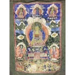 Image of Tibetan Thanka Painted Wall Hanging, Mid 19th Century