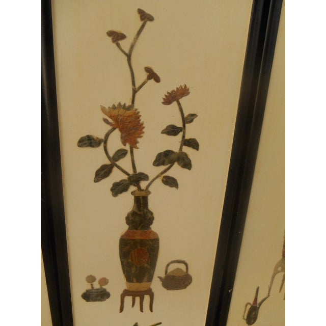 Image of Vintage Asian Four-Panel Jade Floral Wall Art