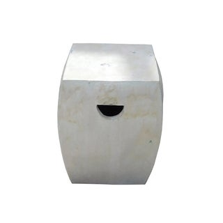 Chinese Off White Square Clay Ceramic Garden Stool