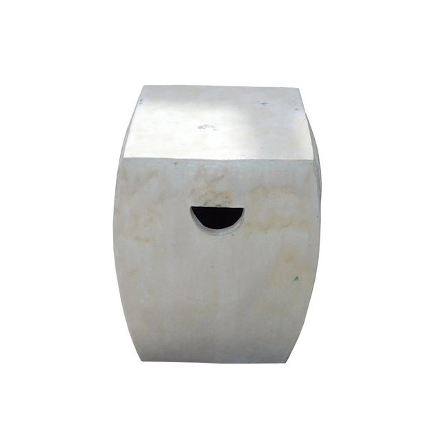 Image of Chinese Off White Square Clay Ceramic Garden Stool