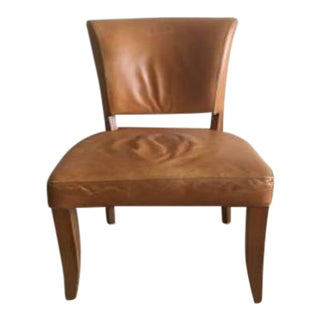 Leather & Nail Head Caramel Weathered Rustic Side Chair