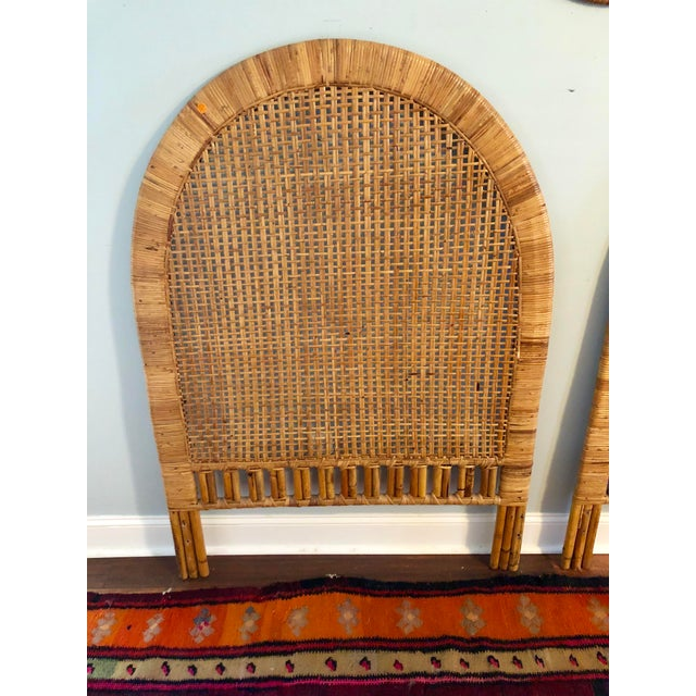 Vintage Mid-Century Arched Cane Rattan Twin Headboards - a Pair - Image 5 of 9