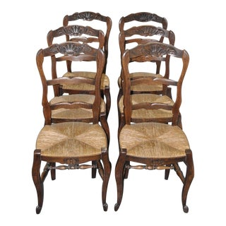 Antique French Oak Dining Chairs - Set of 6