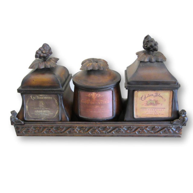 Decorative French Metal Tray & 3 Canisters - Image 2 of 9