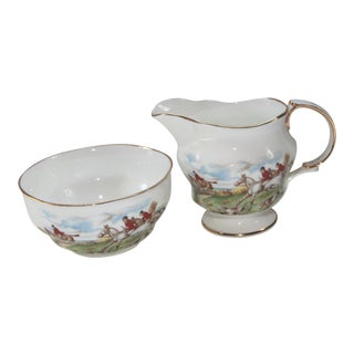 Arklow Bone China Fox Hunt Scene Creamer & Sugar - A Pair