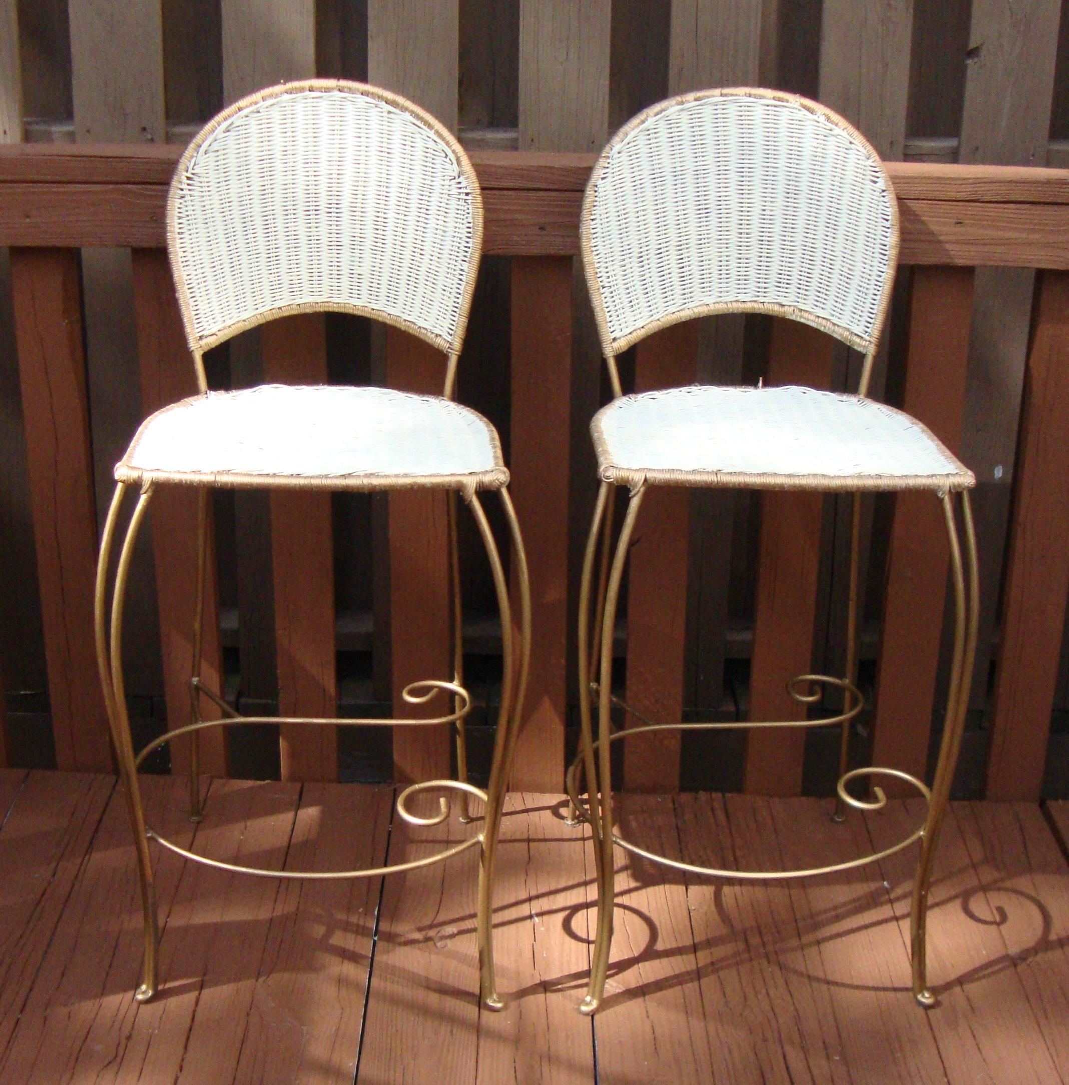 Vintage Style White Wicker Bar Stools Pair Chairish